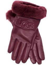 UGG - Logo Leather Gloves - Lyst