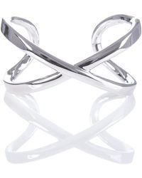 Karen Millen - Criss Cross Cuff In Silver - Lyst