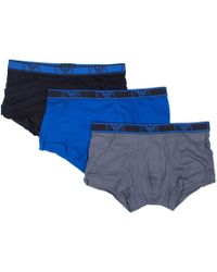 Emporio Armani - 3 Pack Stretch Cotton Trunks - Lyst
