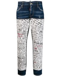DSquared² Handwriting Print Jeans - Blue