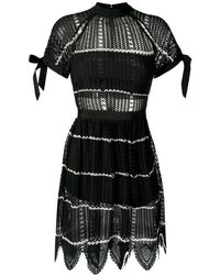 5703f7c6853 Self-Portrait Monochrome Stripe Dress - Lyst
