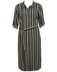 Evans - Khaki Striped Shirt Midi Dress - Lyst