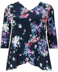 Evans - Grace Navy Floral Tunic Top - Lyst