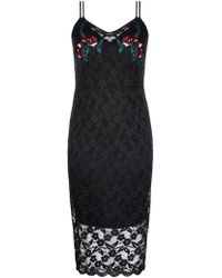 City Chic - Black Embroidered Dress - Lyst