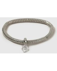Evans - Silver Cubic Zirconia Mesh Bracelet - Lyst
