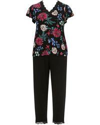 Evans - Black Floral Print Pyjama Set - Lyst