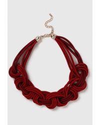 Evans - Red Cord Plait Necklace - Lyst