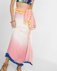 Express Ombre Tassel Trim Cover-up Skirt