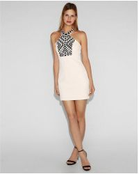 Express - Halter Neck Embellished Dress - Lyst