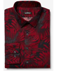 Express - Extra Slim Floral Dress Shirt Red - Lyst