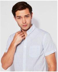 Express - Slim Striped Button-down Short Sleeve Shirt - Lyst