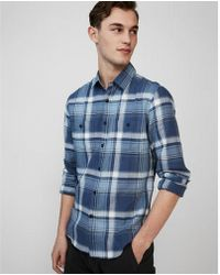 Express - Plaid Button Front Shirt - Lyst