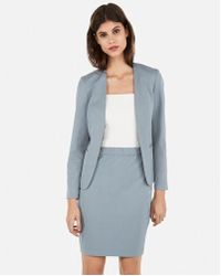 b90641fd8 Lyst - Express High Waisted Gingham Check Pencil Skirt in Gray