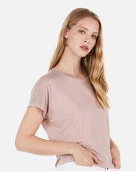 256e5e74807049 Lyst - Express One Eleven Ribbed Off The Shoulder Tee in Gray