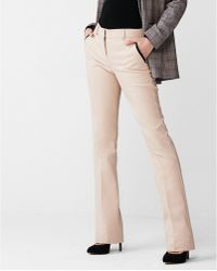 Express - Mid Rise Piped Barely Boot Columnist Pant Neutral - Lyst