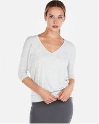 Express - One Eleven Heathered Banded Bottom London Tee - Lyst