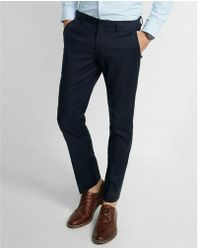 Express - Extra Slim Navy Oxford Dress Pant - Lyst