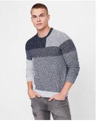 Express   Mixed Stitch Blocked Crew Neck Sweater   Lyst