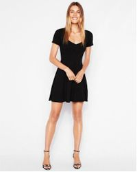 Express - Ribbed Sweetheart Fit And Flare Dress - Lyst