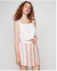 Express - D Button Front Linen-blend Mini Skirt - Lyst