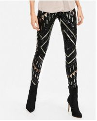Express - High Waisted Patterned Sequin Leggings - Lyst