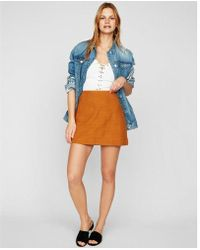 Express - High Waisted Textured A-line Mini Skirt - Lyst