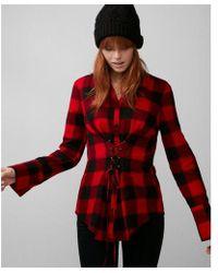 Express - Check Flannel Corset Shirt - Lyst