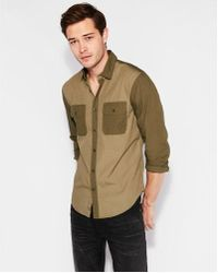 Express - Slim Military Patch Pocket Cotton Shirt - Lyst