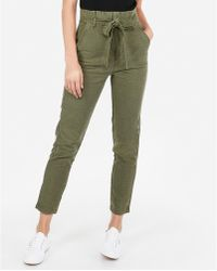 Express - Super High Waisted Paperbag Cotton Ankle Pant Green - Lyst