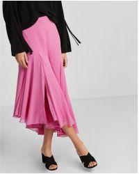 Express - High Waisted Ruffle Midi Skirt - Lyst