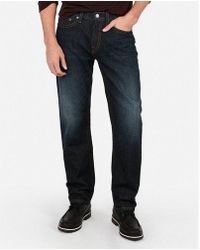 Express - Relaxed Thick Stitch Dark Wash Stretch Jeans, Men's Size:w28 L28 - Lyst
