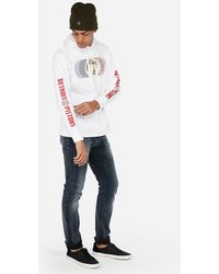 Express - Detroit Pistons Nba Heavyweight Foil Graphic Hooded T-shirt White - Lyst