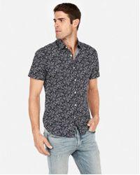 Express - Slim Floral Short Sleeve Shirt - Lyst