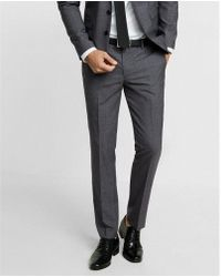 Express - Extra Slim Gray Plaid Wool Suit Pant - Lyst
