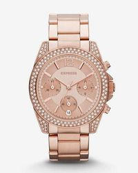 Express - Endale Pave Embellished Chronograph Watch - Lyst