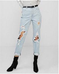 Express - High Waisted Ripped Rolled-hem Original Boyfriend Jeans, Women's Size:8 - Lyst