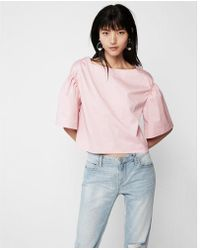 Express - Smocked Sleeve Tee - Lyst