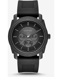 Express Rivington Textured Silicone Multi-function Watch - Black