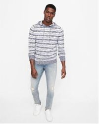 Express - Striped Hooded Sweater - Lyst