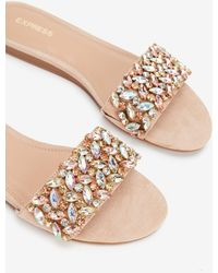 Express - Jewel Embellished Rhinestone Slide Sandals Neutral - Lyst