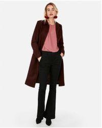 Express - Long Belted Wool-blend Coat - Lyst