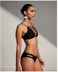 Express - Lace-up High Neck Bikini Swim Top - Lyst