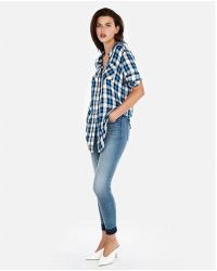 Express - Plaid Oversized Button Front Tunic - Lyst