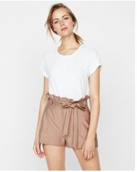 Express - High Waisted Tie Front Cargo Shorts - Lyst