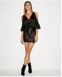 Express - High Waisted Geometric Sequin Mini Skirt - Lyst