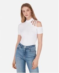 Express - One Eleven Asymmetrical Strappy Shoulder Tee - Lyst