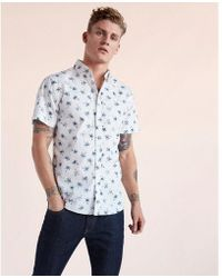 Express | Soft Wash Palm Tree Short Sleeve Shirt | Lyst