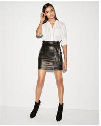 Express - Faux Leather Sash Tie Mini Skirt - Lyst