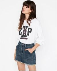 Express - Mid Rise Straight Denim Mini Skirt - Lyst
