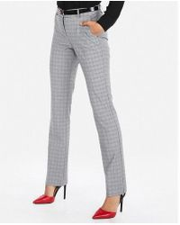 Express - Mid Rise Plaid Barely Boot Columnist Pant - Lyst